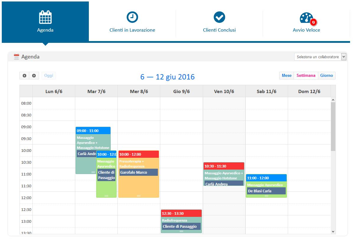 Calendario: vista settimanale